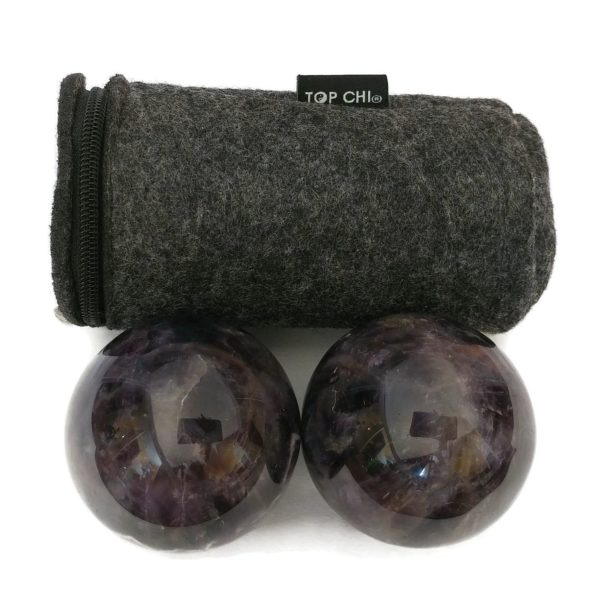 Amethyst baoding balls with a carry bag