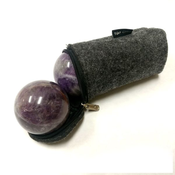 Amethyst baoding balls in a carry bag