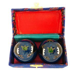 Dolphin baoding balls in a brocade box