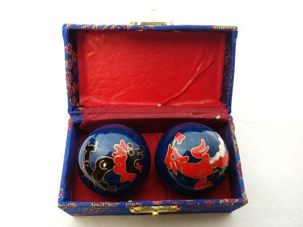 Dragon and phoenix baoding balls in a box