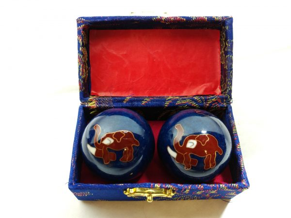 Blue baoding balls with elephant design in a box