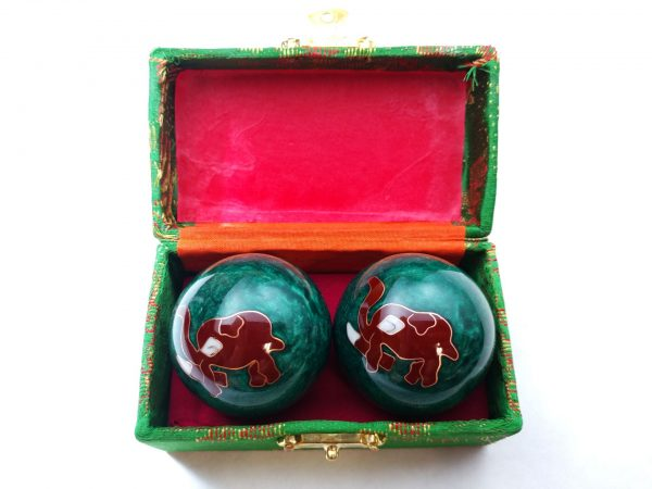 Green baoding balls with elephant design in a box