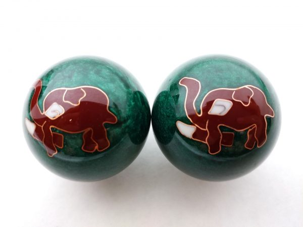 Green baoding balls with elephant design