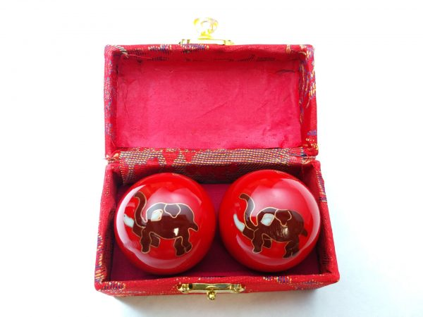 Red baoding balls with elephant design in a box