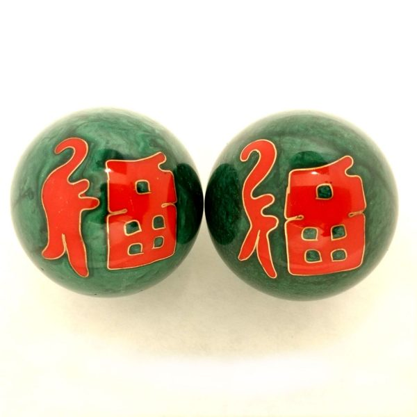 Green baoding balls with good fortune Chinese characters