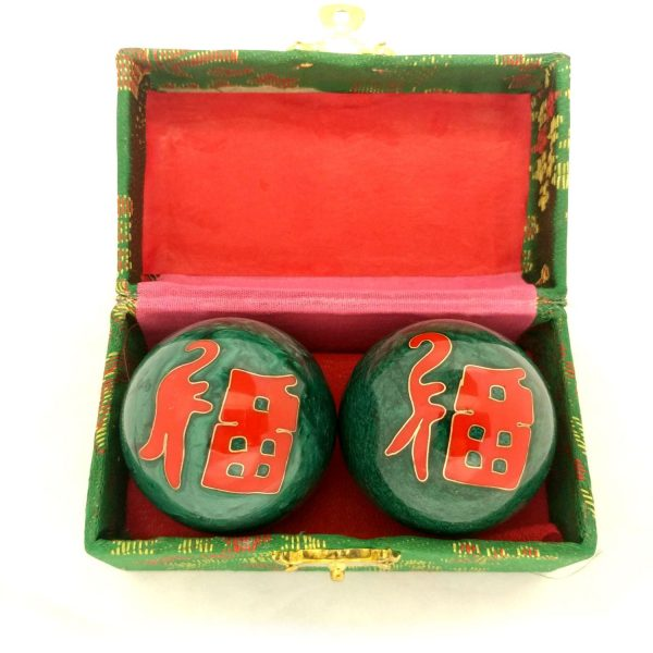 Green baoding balls with good fortune Chinese characters in a box