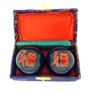 Good fortune baoding balls in a brocade box
