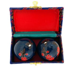 Hummingbird baoding balls in a brocade box