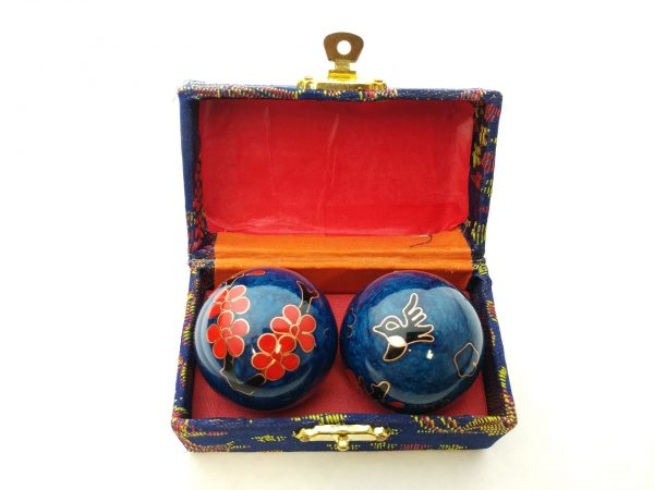 Blue baoding balls with humming bird design in a box
