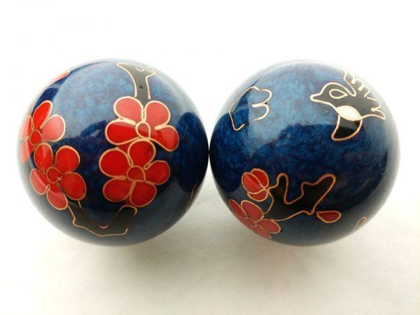 Blue baoding balls with humming bird design