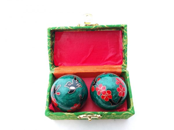 Green baoding balls with humming bird design in a box