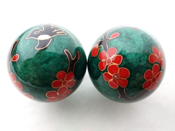 Green baoding balls with humming bird design