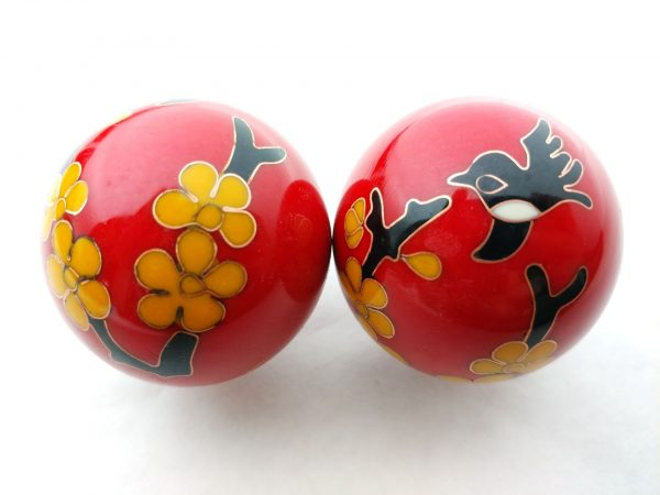 Red baoding balls with humming bird design