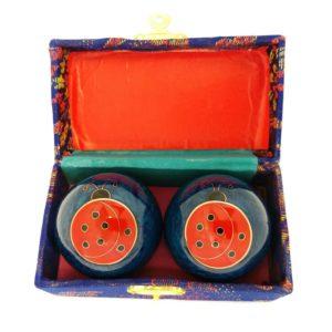 Ladybug baoding balls in a brocade box