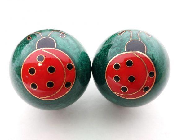 Green baoding balls with ladybug design