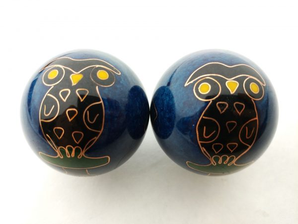 Blue baoding balls with owl design