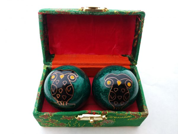 Green baoding balls with owl design in a box
