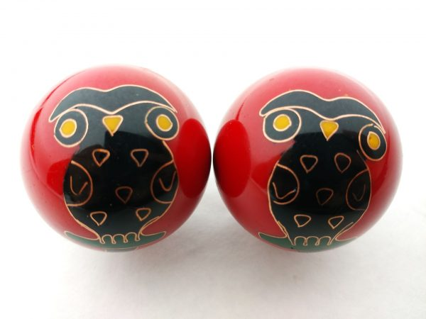 Red baoding balls with owl design