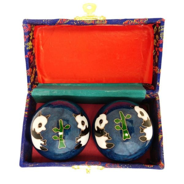 Panda baoding balls in a brocade box