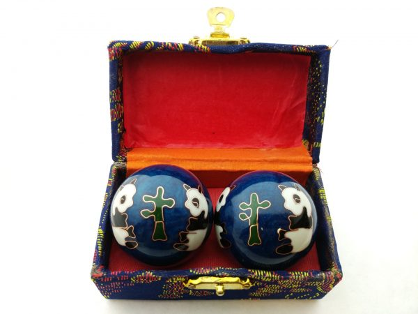 Blue baoding balls with panda design in a box