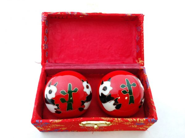 Red baoding balls with panda design in a box