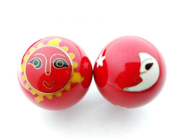 Red baoding balls with sun and moon designs