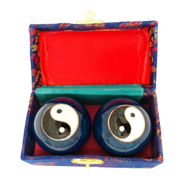 Yin Yang baoding balls in a brocade box