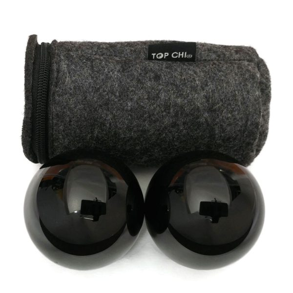 Black obsidian baoding balls with carry bag