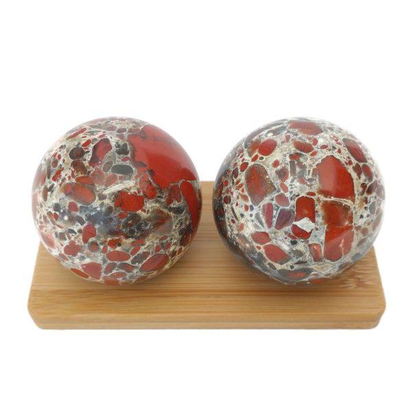 Brecciated Jasper Baoding Balls on Display Stand