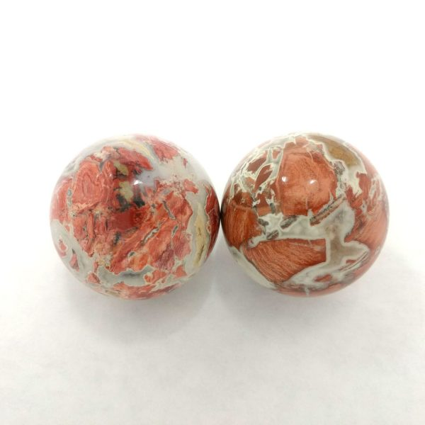 Baoding balls made from brecciated jasper gemstone
