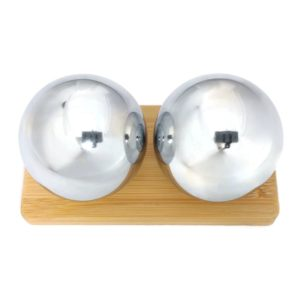 Chrome baoding balls on bamboo stand