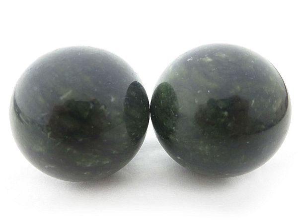 Baoding balls made from xiuyan jade gemstone