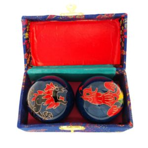 Dragon and Phoenix baoding balls in a brocade box