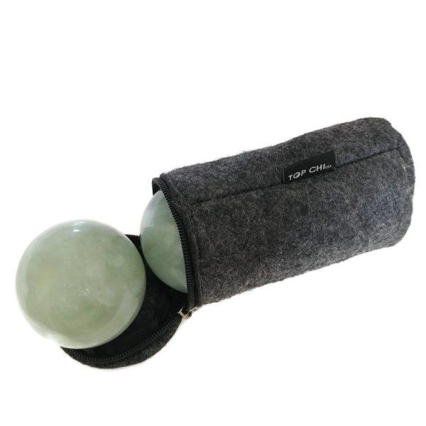 Green jade baoding balls with carry bag