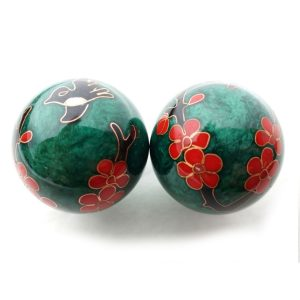 Green baoding balls with humming bird design