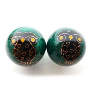 Green baoding balls with owl design