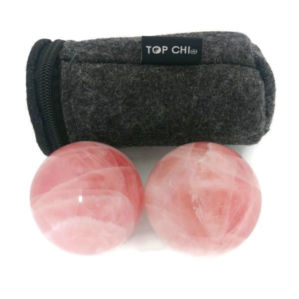 Rose quartz baoding balls with carry pouch