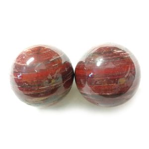 Baoding balls made from snakeskin jasper gemstone