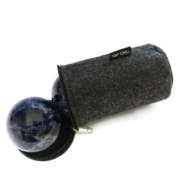 Sodalite baoding balls with carry bag