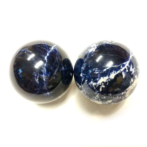 Baoding balls made from sodalite gemstone