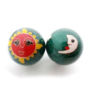 Green baoding balls with sun and moon designs