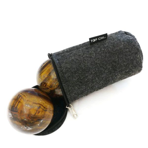 Tiger eye baoding balls with carry bag