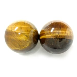 Baoding balls made from tiger eye gemstone