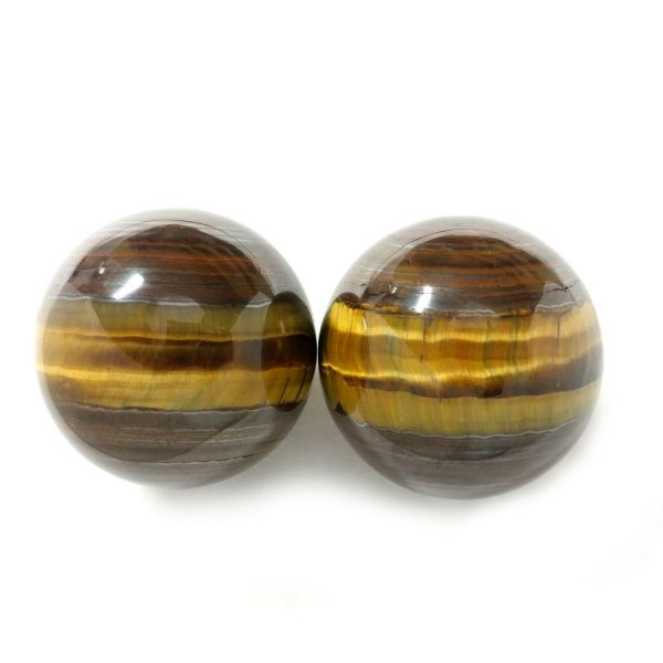 Baoding balls made from tiger iron gemstone