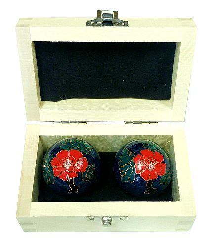 Wooden baoding ball box with balls inside
