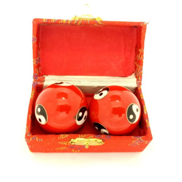 Red baoding balls with yin yang design in a box