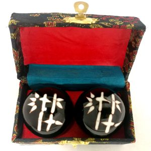 Baoding balls with bamboo design in a box