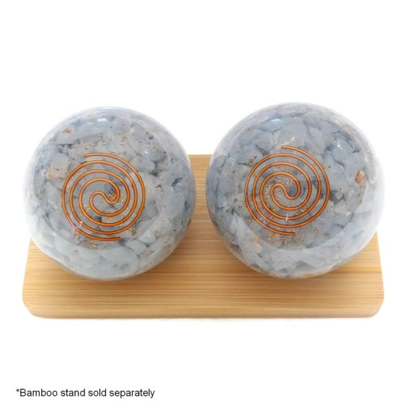 Large angelite orgonite baoding balls with display stand