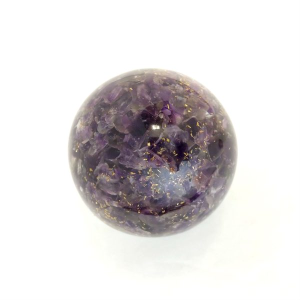 Single amethyst orgonite ball showing the back