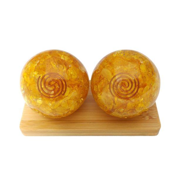 Citrine quartz orgonite baoding balls